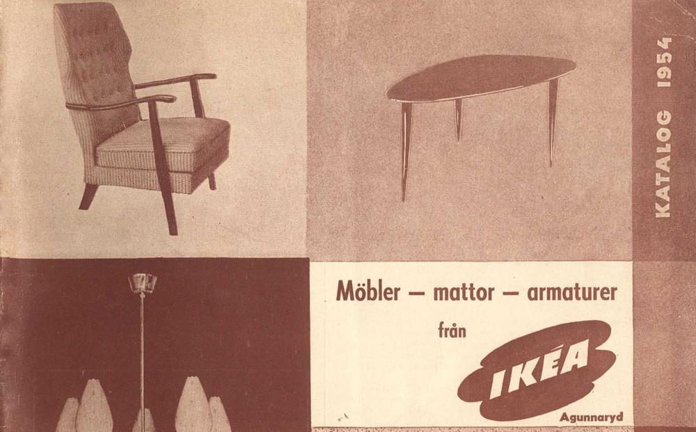 Portada del primer catalogo de ikea, muebles antiguos y diseño de los años 50